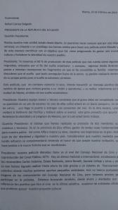 Carta enviada al presidente para incentivar su participación en la película