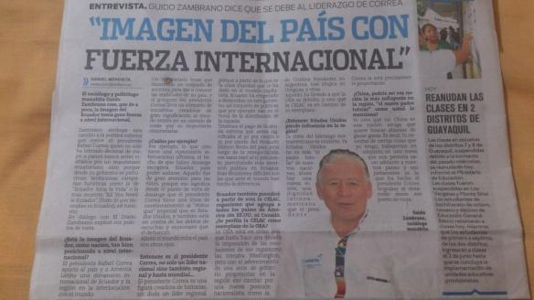Entrevista en el diario de Manabí